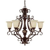 Manchester 6 Light Chandelier with Scavo Glass