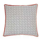 Maze Poly Square Pillow in Grey / Orange
