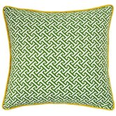 Maze Square Decorative Pillow in Green and Yellow