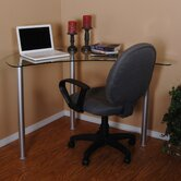 Corner Computer Desk with Glass Top