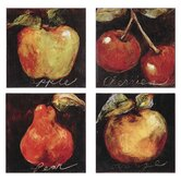 Assortment of Fruit (Apple, Cherry, Pear and Orange) Set of Four Canvas Art - Etienne