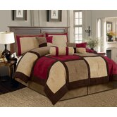 Microsuede Patchwork Bed in a Bag 7 PC Comforter Set