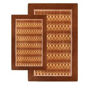 Alabama Jacquard Piece Accent Brown/Red Rug Set