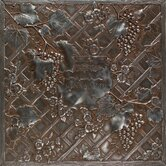 "Metal Signatures Trellis Mural 12"" x 12"" Decorative Tile in Aged Iron"