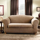 Stretch Stripe Two Piece Loveseat Slipcover