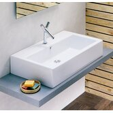 Domino Vessel or Wall-Mount Sink in White