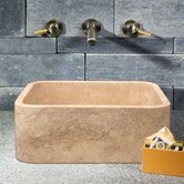 Rectangular Shape Vessel Sink in Cafe Blanc Travertine