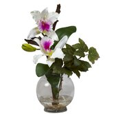 Mini Cattleya with Fluted Vase Silk Flower Arrangement in White