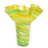 Hand Blown Vase in Green and Yellow