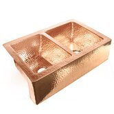 "33"" x 22"" x 10"" 50/50 Well Copper Farmhouse Kitchen Sink"