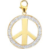 14K Yellow Gold Diamond Peace Sign Charm
