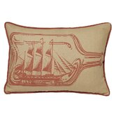 Ship in Bottle Decorative Pillow in Coral Sand