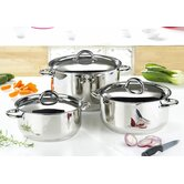 3 Piece Classic Casserole Set in Stainless Steel