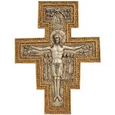 San Damiano Sculptural Wall Cross in Faux Silver and Gold