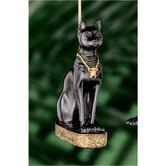 Bastet Egyptian Holiday Ornament in Faux Ebony and Gold