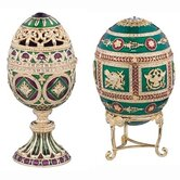 The Emerald Collection Faberge-Style Enameled Redonka and Minishka Egg Set