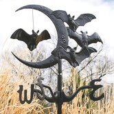 Crescent Moon Vampire Bats Metal Roof Mount Weathervane