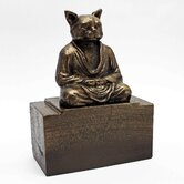Spirit of Zen Meditating Cat Bookend