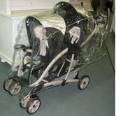 Extra Large Tandem (Front to Back) Stroller Rain and WeatherBug Cover