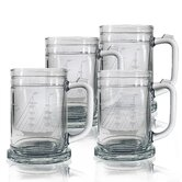 Set of 4 Tankard Mug 15 oz. Hand Cut Clipper Ship Pattern