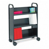 Single-Sided Book &amp; Utility Cart, Three Shelves, 27 x 13 x 43, Raven Black