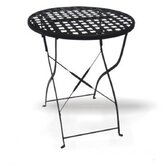 Round Wrought Iron Folding Dining Table with Mesh Top