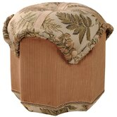 Woodland Cross Ottoman with Braid, Rouched Corded Edge
