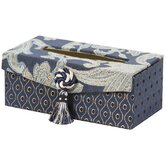 Hampton Romance Rectangular Tissue Box with Bouquet Trim and Magnet Button