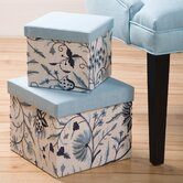 Cashmir Square Embroidered Boxes (Set of  2) Lined