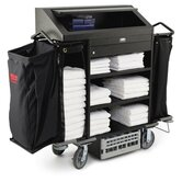 Deluxe H-S Housekeeping Cart with 4 Shelves in Black