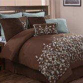 Jardin Embroidered Leaves 8 Piece Comforter Set in Chocolate