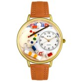 Unisex Artist Red Leather and Goldtone Watch in Gold