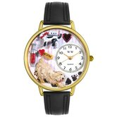 Unisex Veterinarian Black Padded Leather and Goldtone Watch in Gold