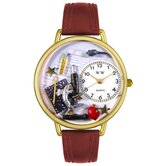 Unisex Science Teacher Burgundy Leather and Goldtone Watch in Gold