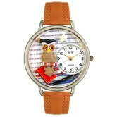 Unisex Knowledge Is Power Tan Leather and Silvertone Watch in Silver