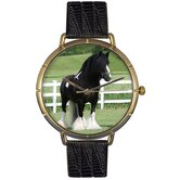 Unisex Gypsy Vanner Horse Photo Watch with Black Leather