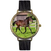Unisex Hanoverian Horse Photo Watch with Black Leather
