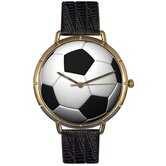 Unisex Soccer Lover Photo Watch with Black Leather