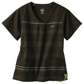 5677 2-Pocket MedFlex II Stripe Top in Carbon Black