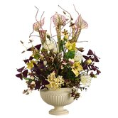 "25"" Pitcher Plant, Hydrangea, Helleborus and Oncidium with Urn"