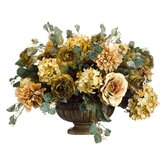 "17"" Ranunculus, Rose and Dahlia Floral Arrangement with Resin Bowl in Amber"