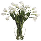 Faux French Tulip in Glass Vase