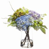 "10.5"" Hydrangea in Glass Vase"