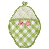 Meadow Green Gingham Polka Dot Scalloped Pot Mitt
