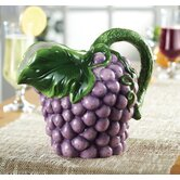 Fresh Fruit Ceramic Grape Pitcher in Purple and Green