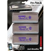 Special 20 Harmonica Pro Pack in Chrome - Key of C, G, A