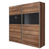 Style Sliding Door Wardrobe with Black Glass