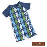 Kimono Baby Bodysuit in Blue Argyle