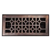 Solid Cast 100% Copper Decorative 4&quot; x 10&quot; Floor Register with Damper