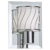 Bevelled Mirror One Light Wall Sconce with White Frosted Glass Shade in Polished Chrome